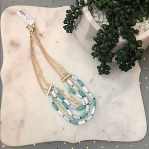 New York & Co rectangle Bead mint white necklace